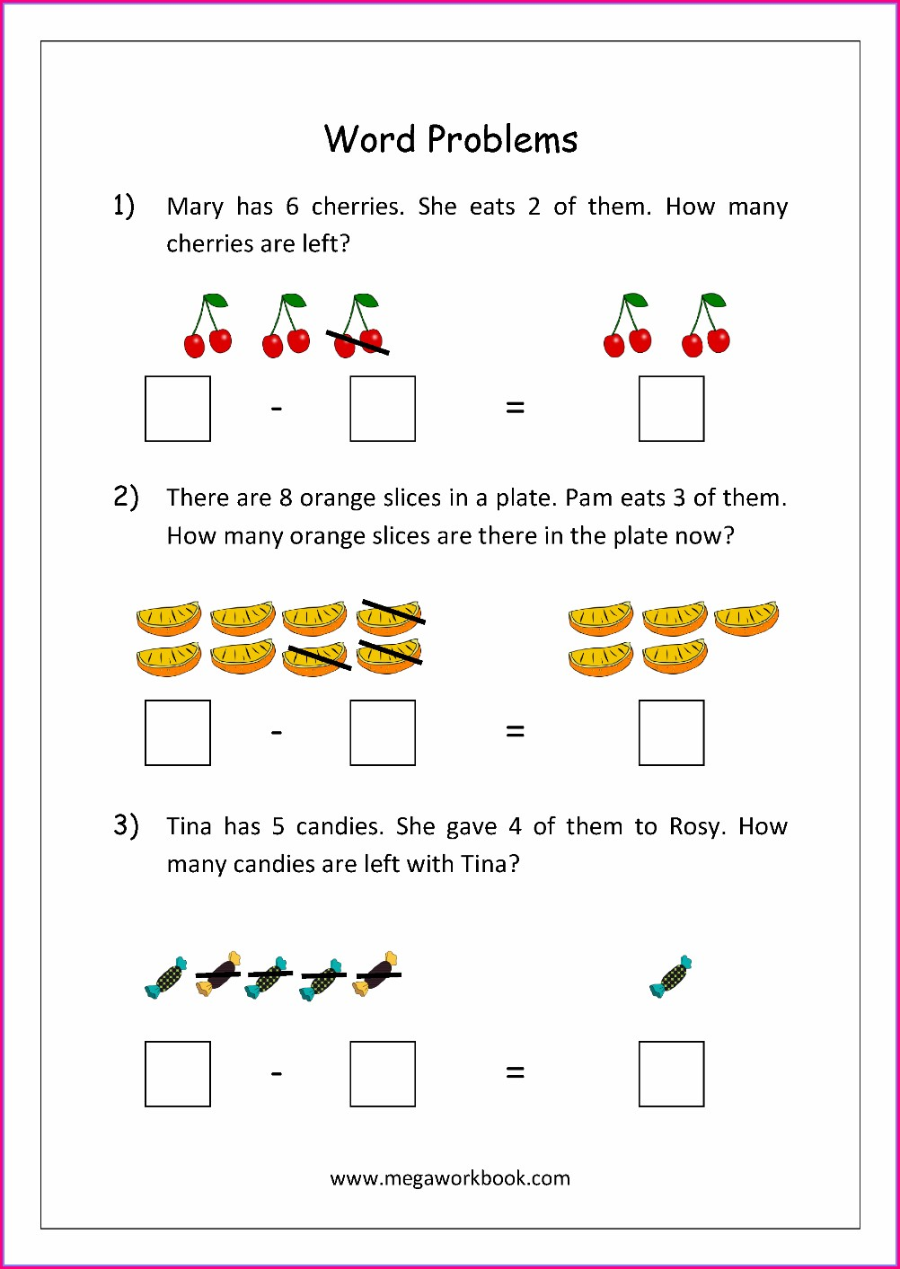 Subtraction Word Problems Worksheet