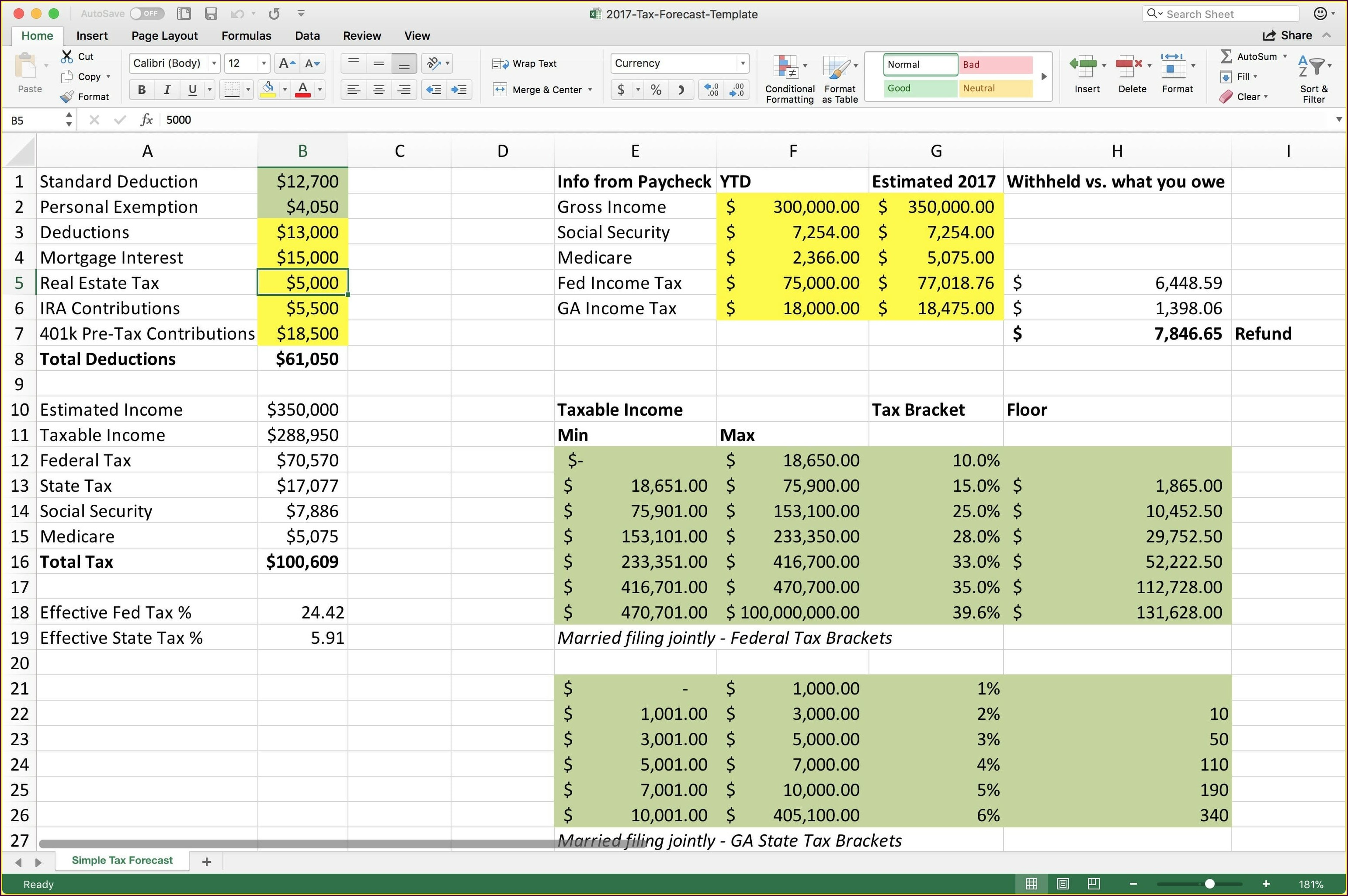 Tax Computation Worksheet In Excel