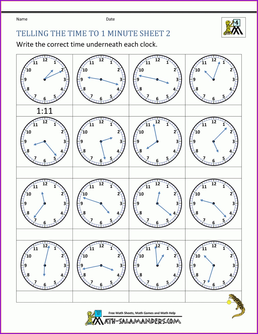 Telling The Time Analogue Clock Worksheets