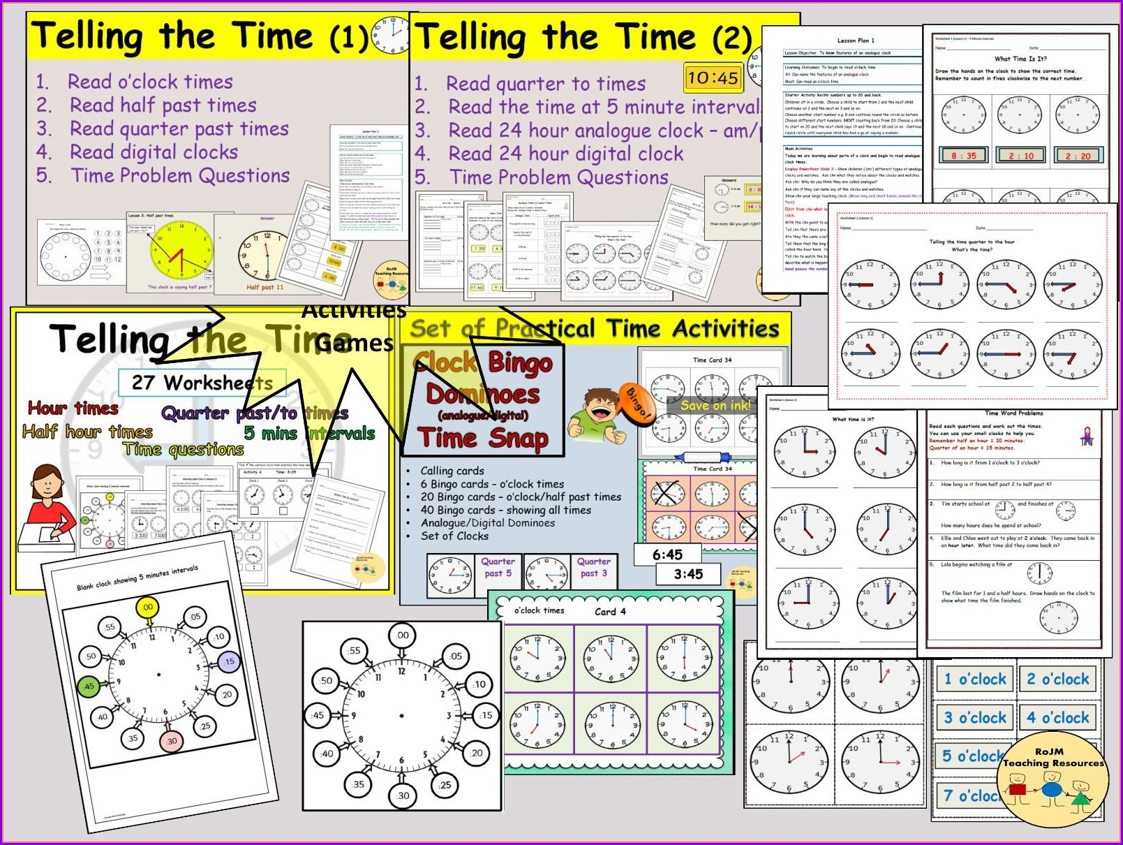 Telling The Time Analogue Worksheets