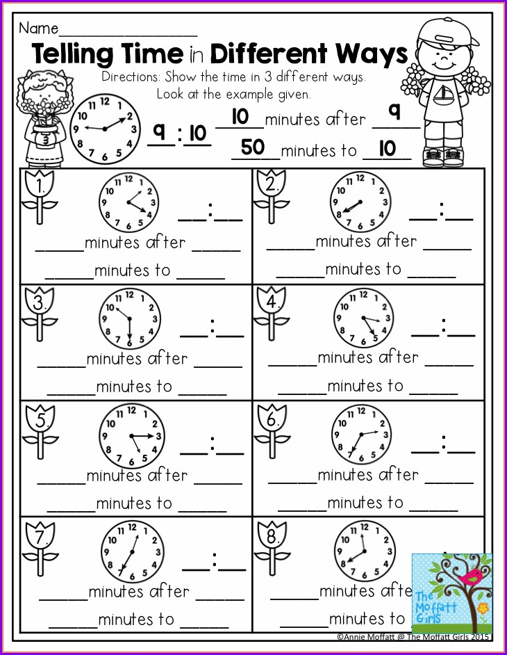 Telling Time Difference Worksheets