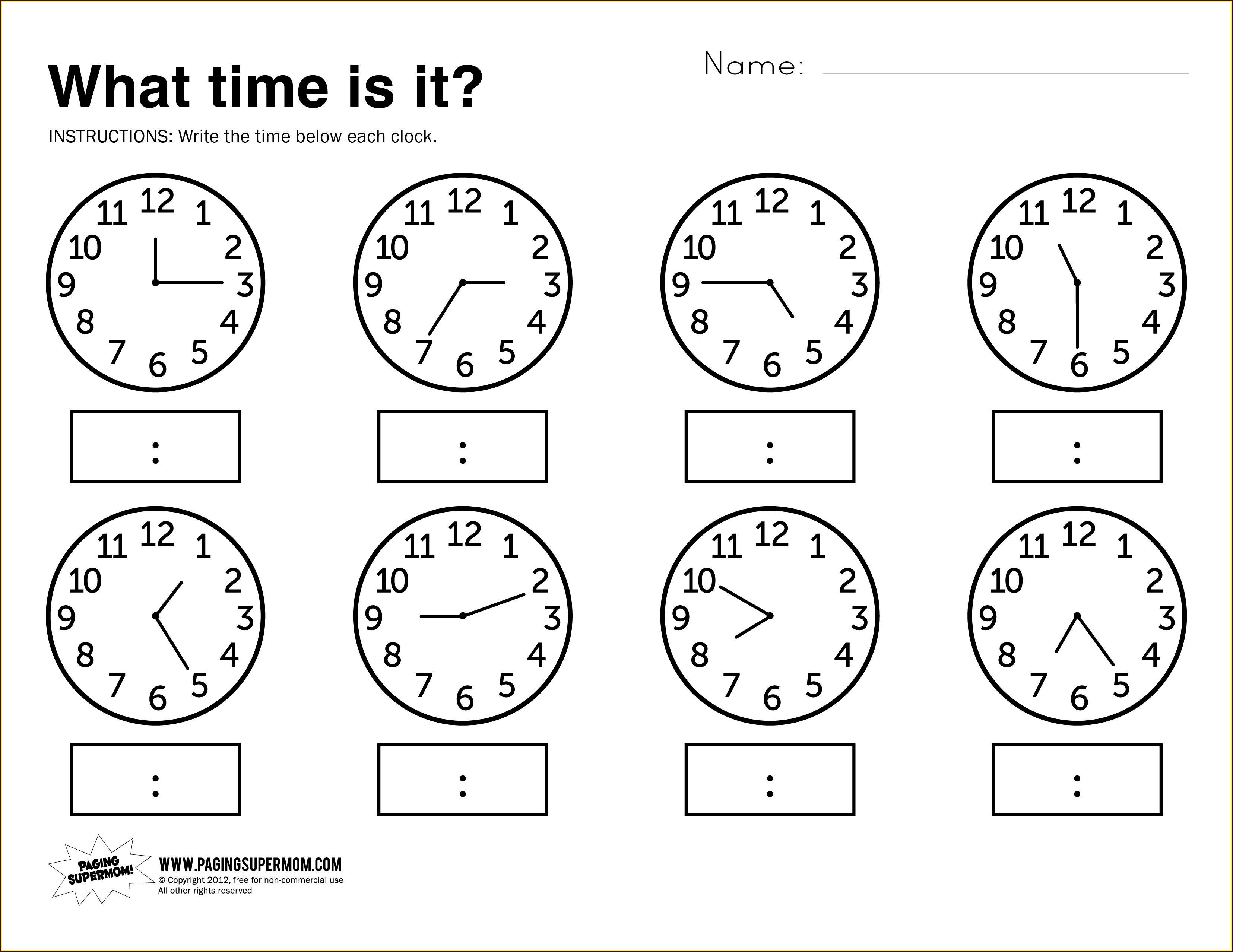 Telling Time In French Worksheet
