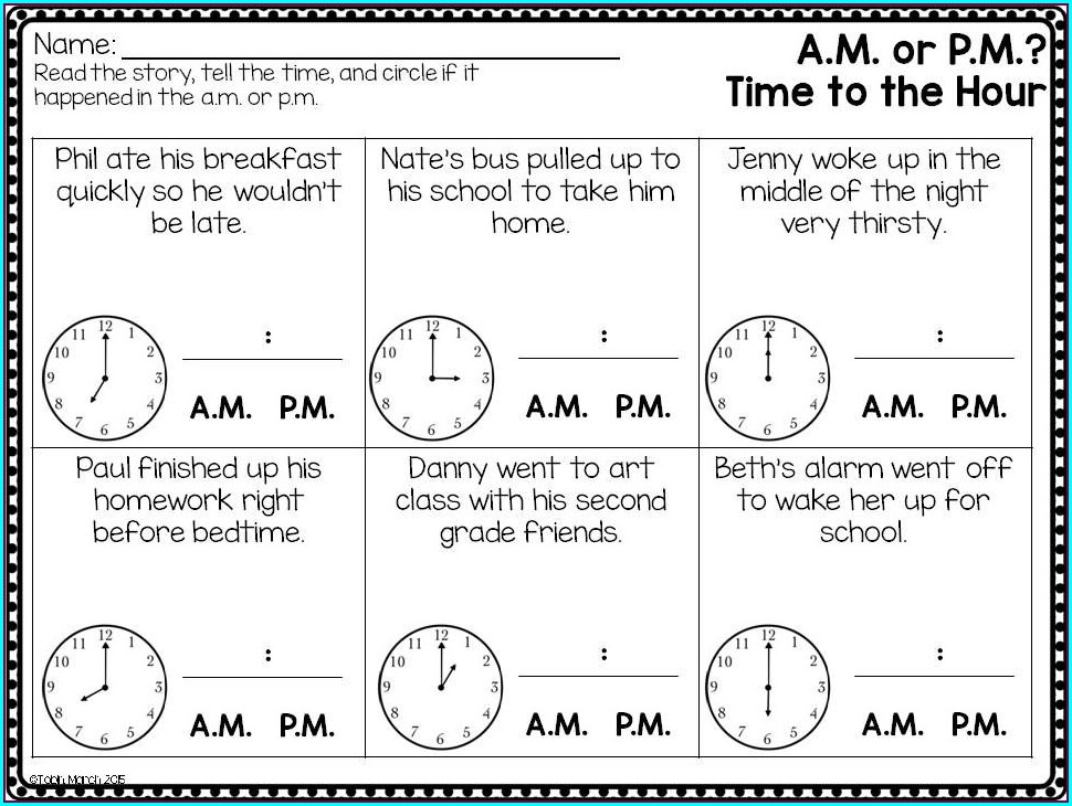 Telling Time Using Am And Pm Worksheets