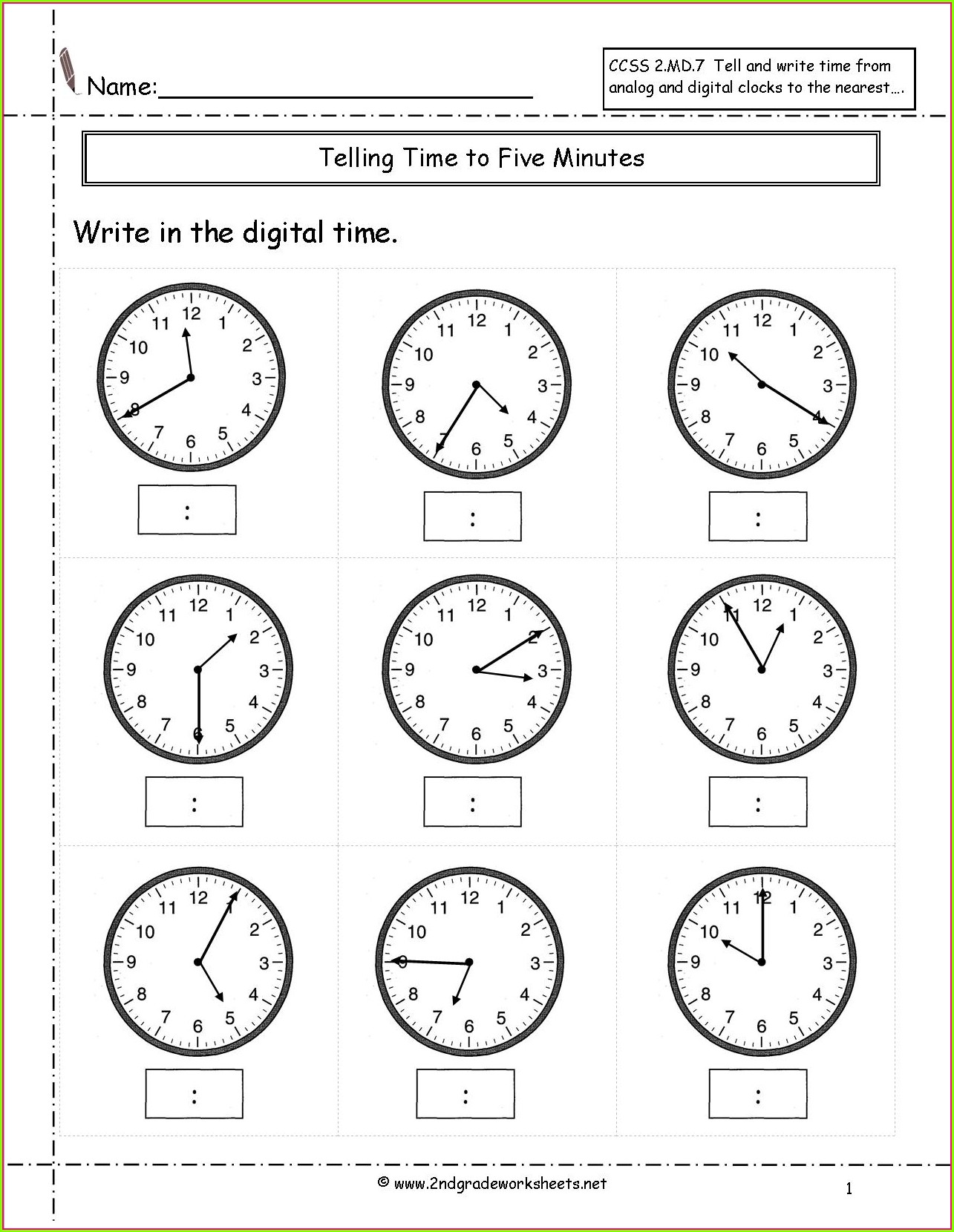 Telling Time Worksheets By The Minute