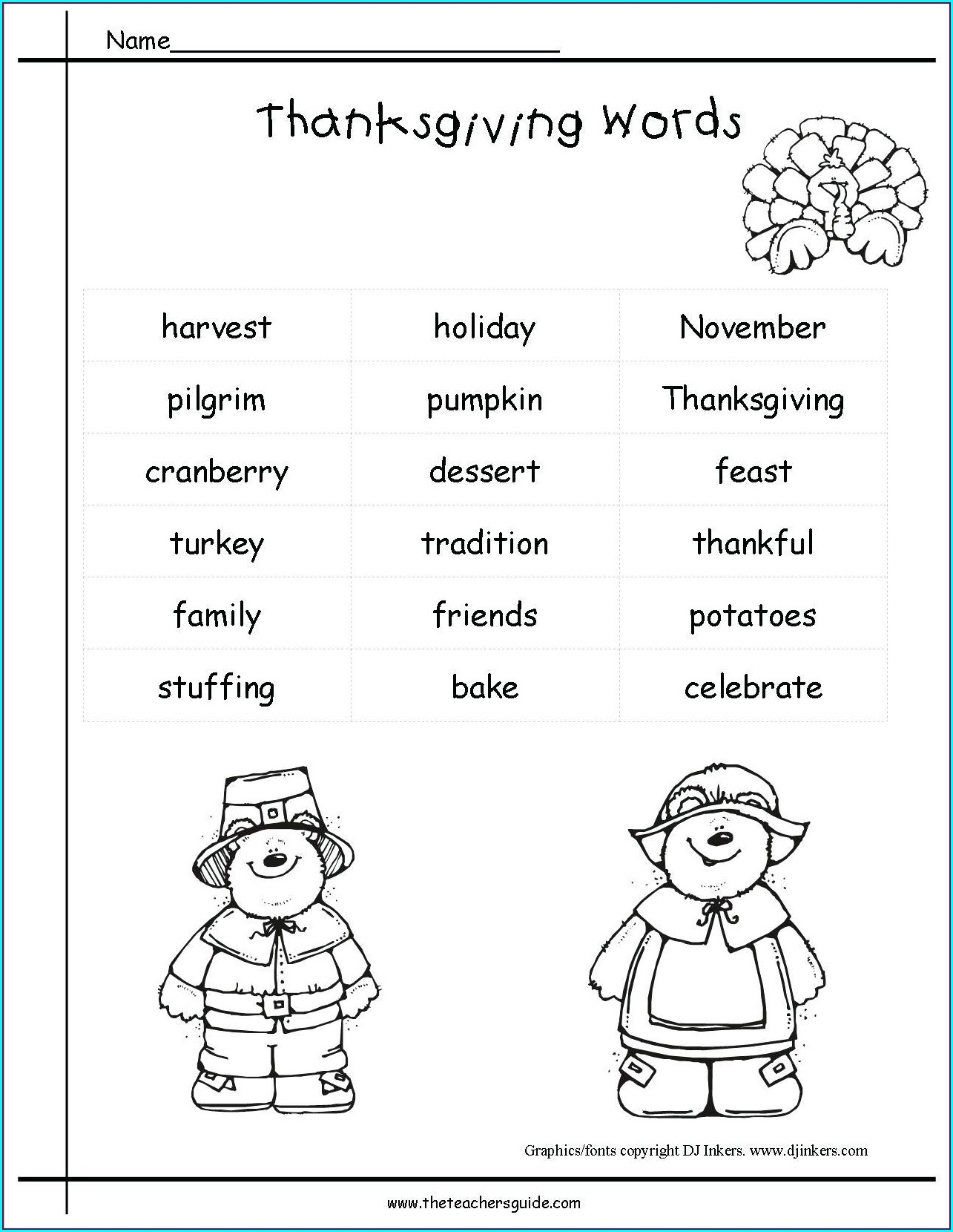 Thanksgiving Math Worksheet Grade 5