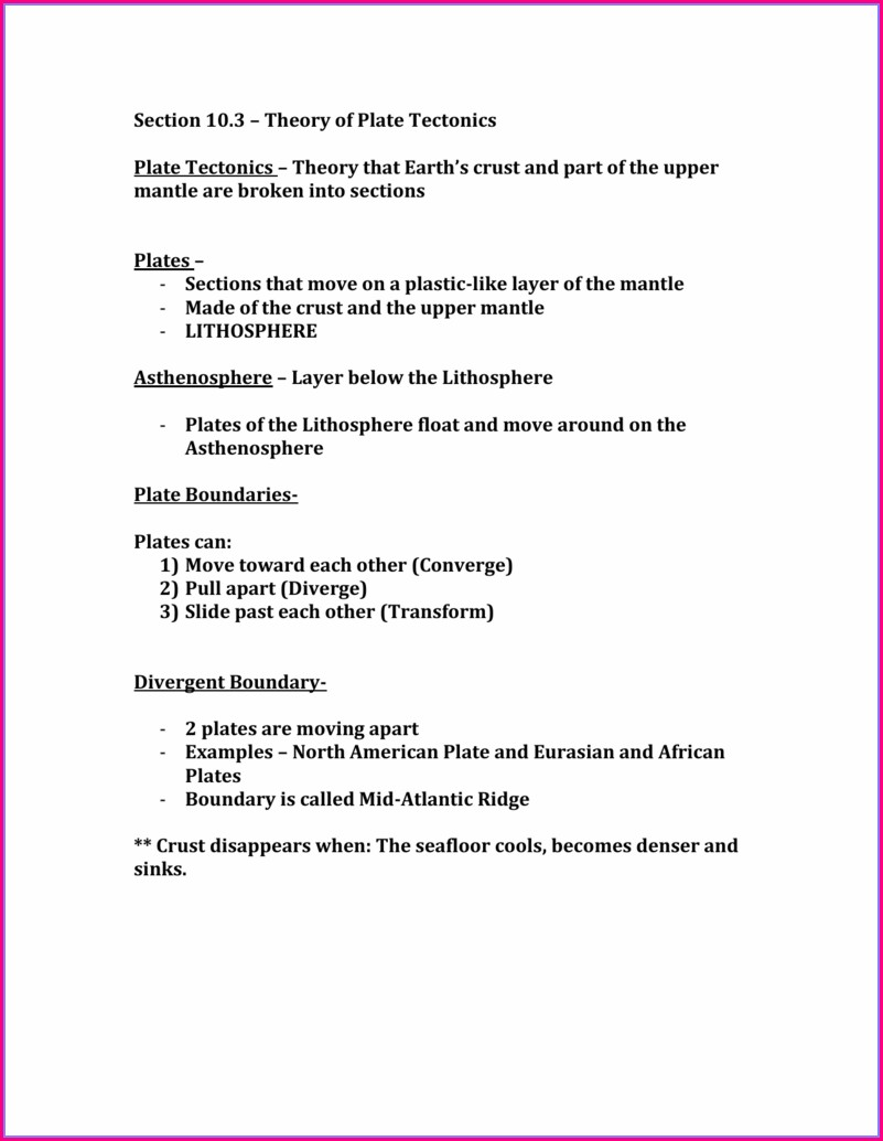Theory Of Plate Tectonics Worksheet Chapter 10