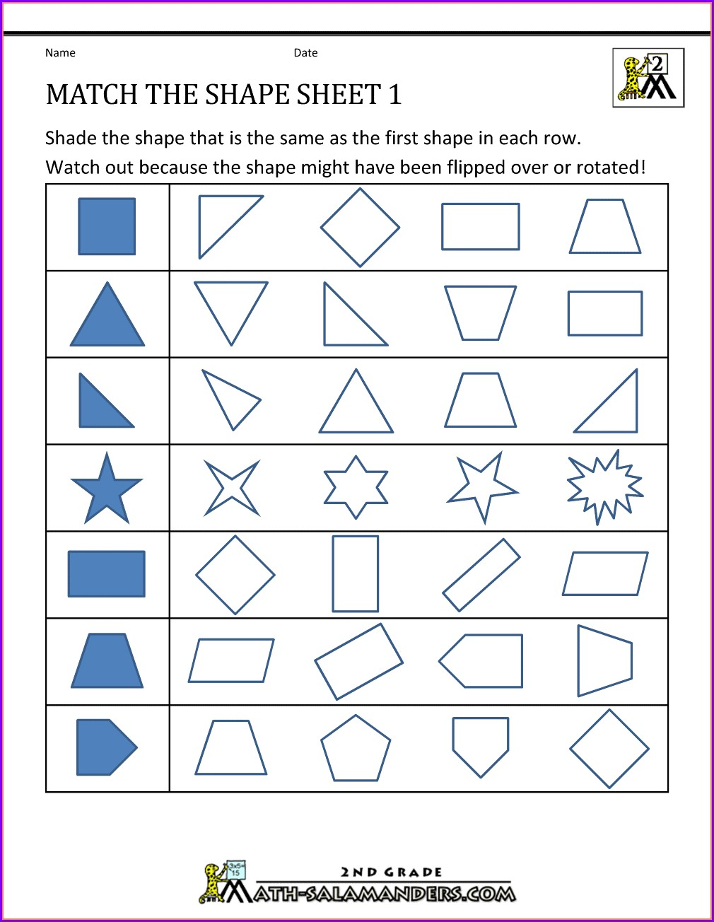 Third Grade 3rd Grade Geometry Worksheets Pdf