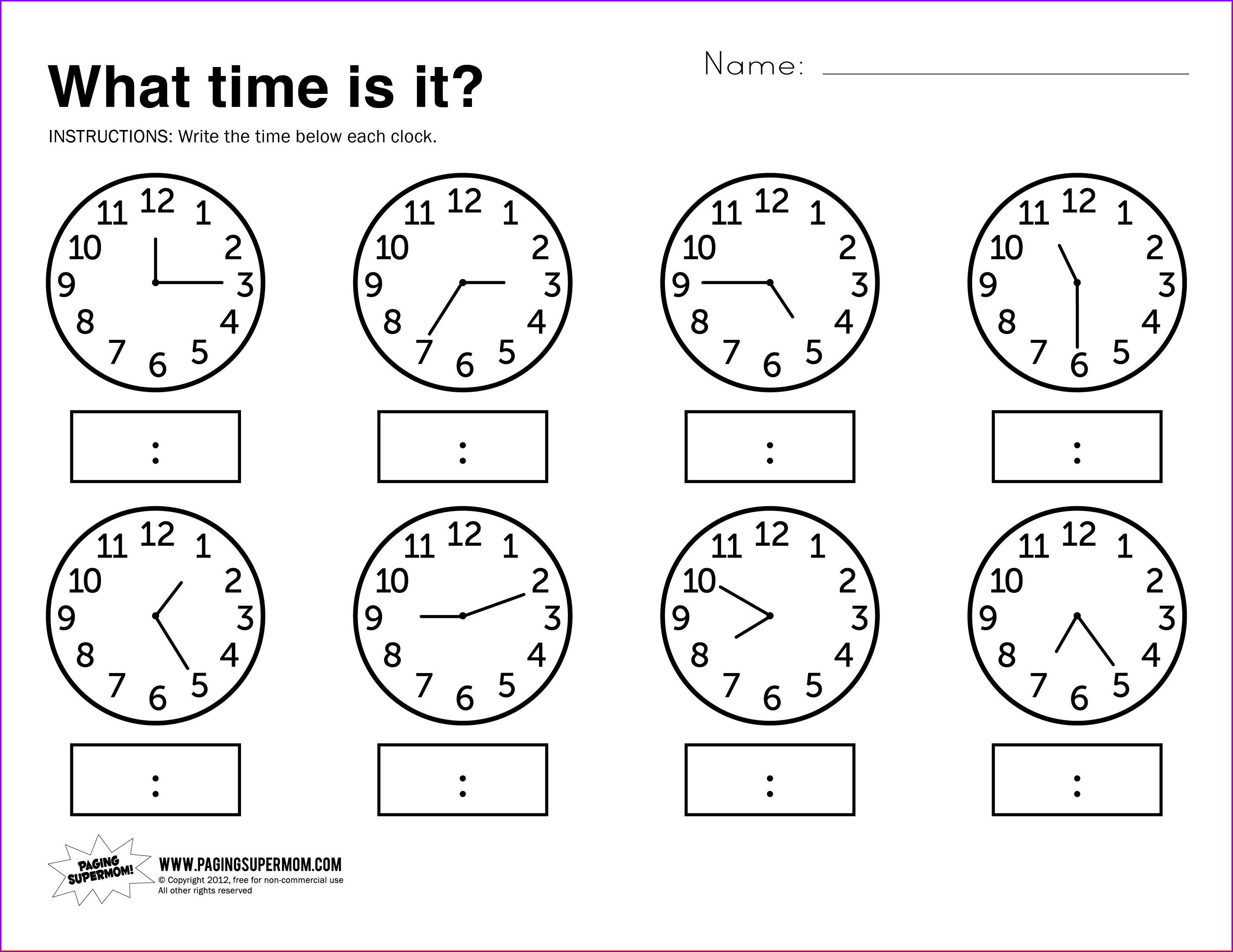 Time Card Practice Worksheets