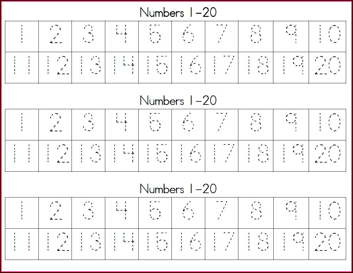 Tracing Number Words Worksheet 1 20