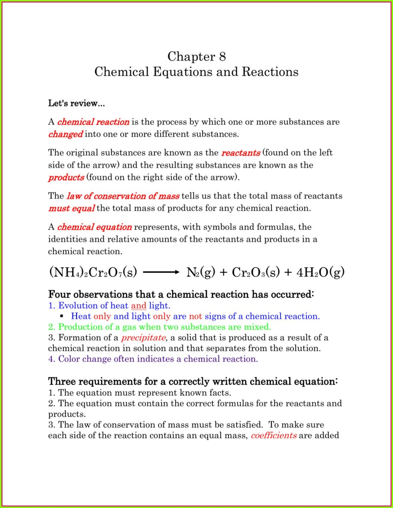 Translating Word Equations Chemistry Worksheet