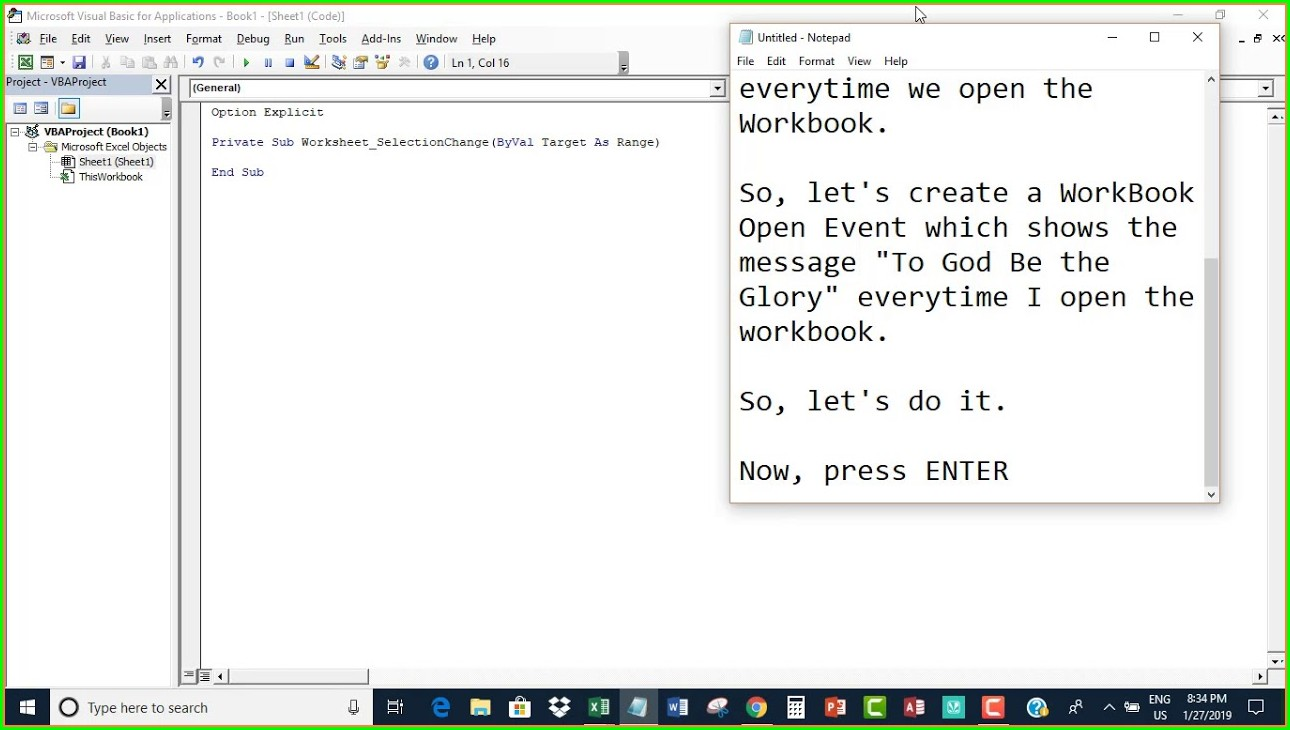 Vba On Worksheet Open Event