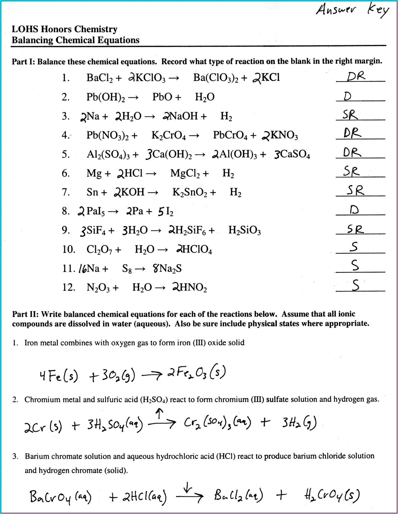 Word Equations To Balance Chemical Equations Worksheet