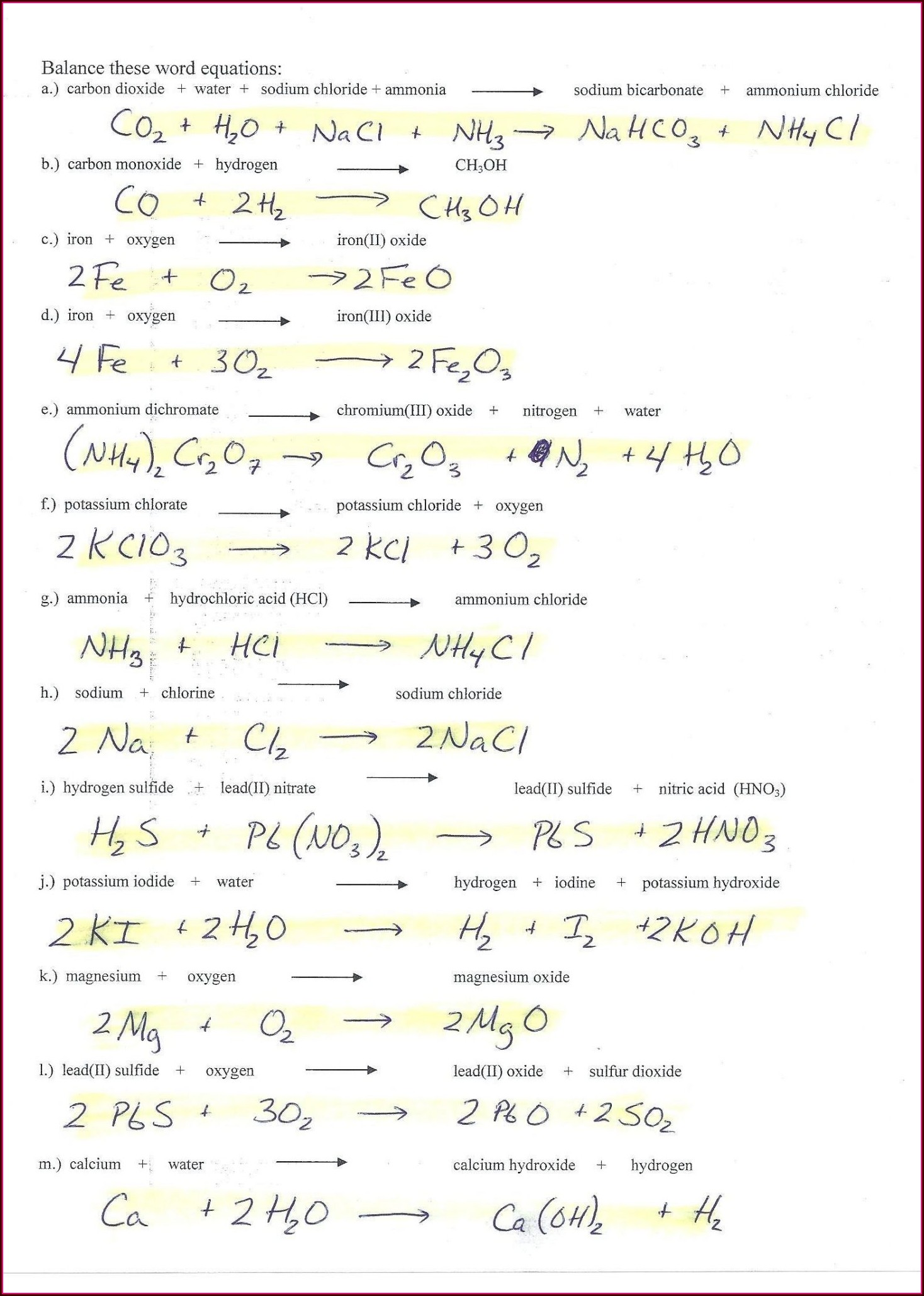 Word Equations Worksheet Physical Science If8767