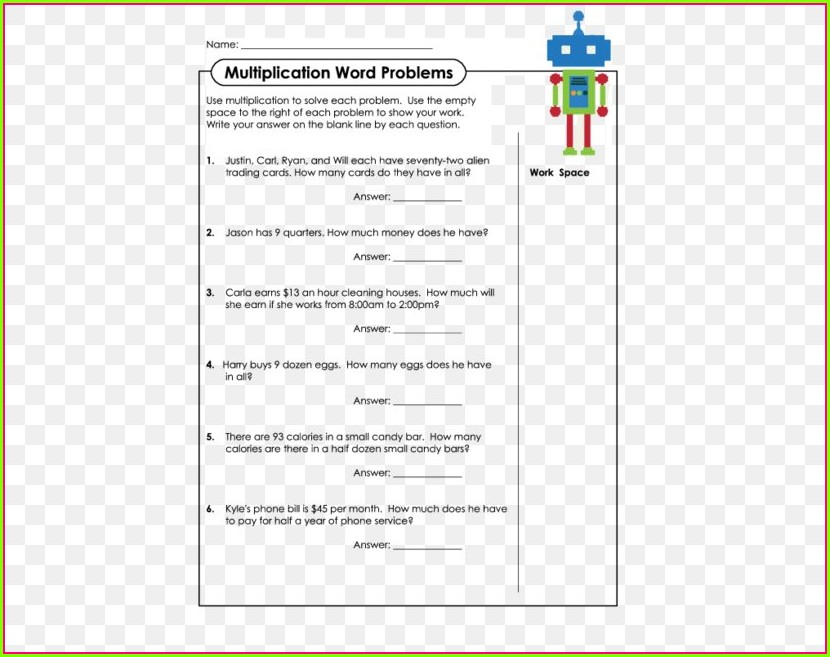 Word Problem Multiplication Worksheet For Grade 1