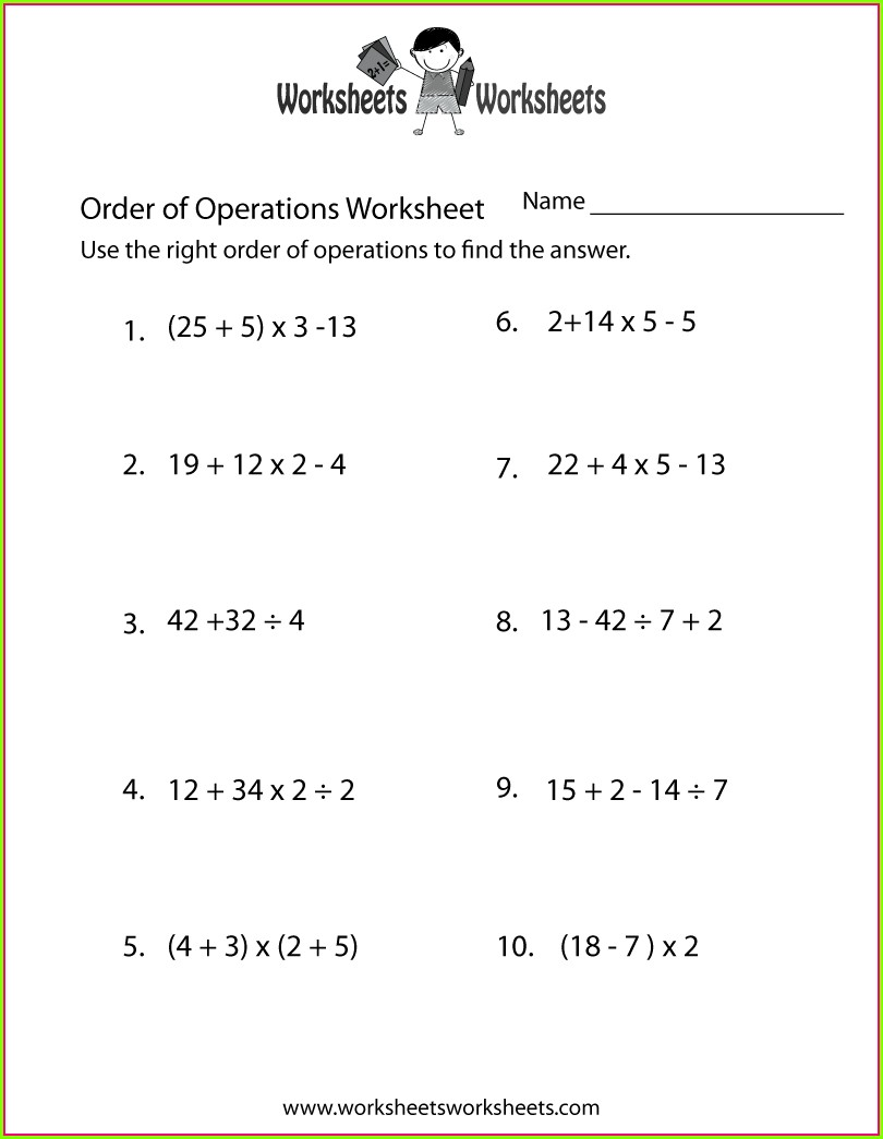 Worksheet 5 Order Of Operations And Exponents