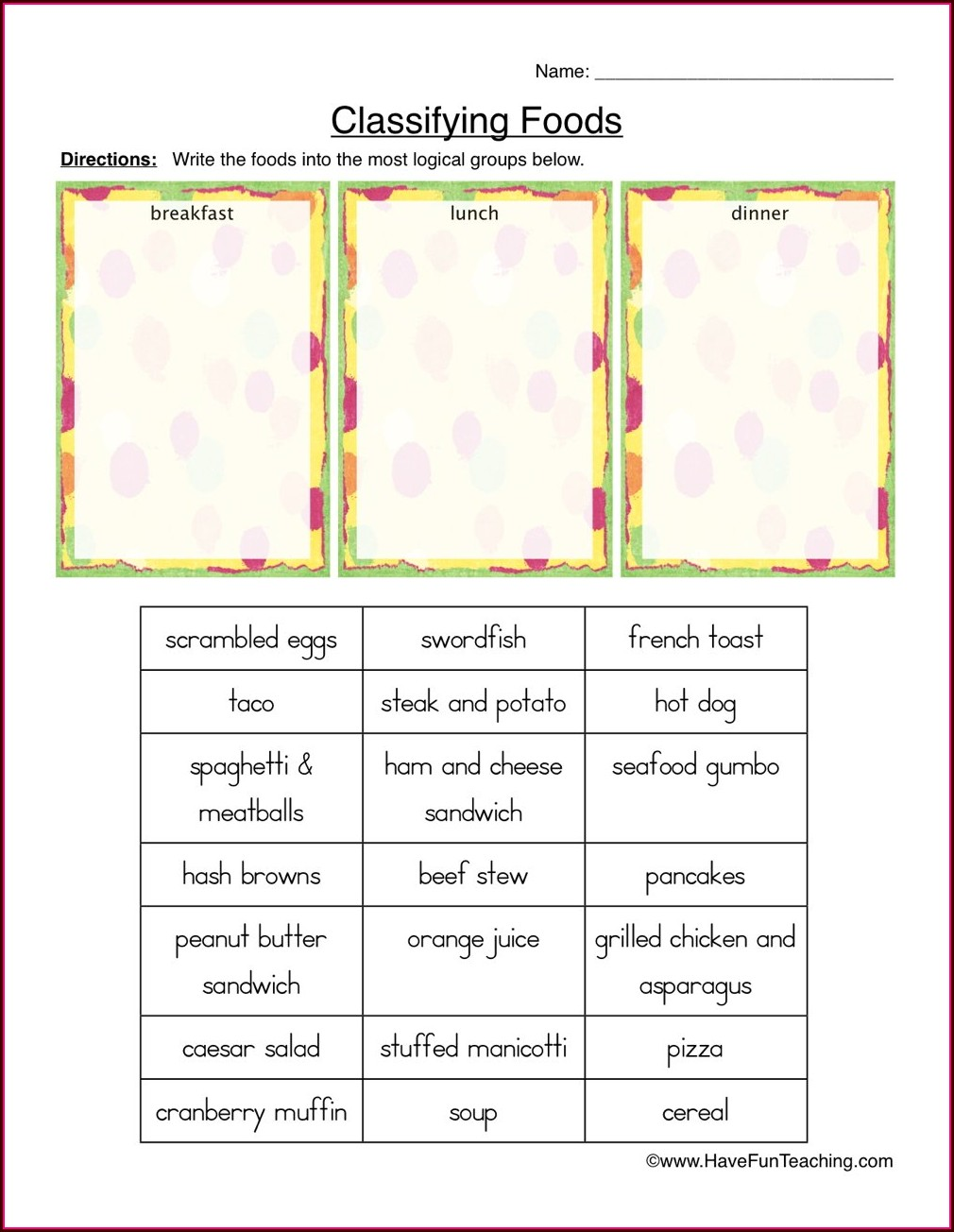 Worksheet On Food Groups For Grade 1