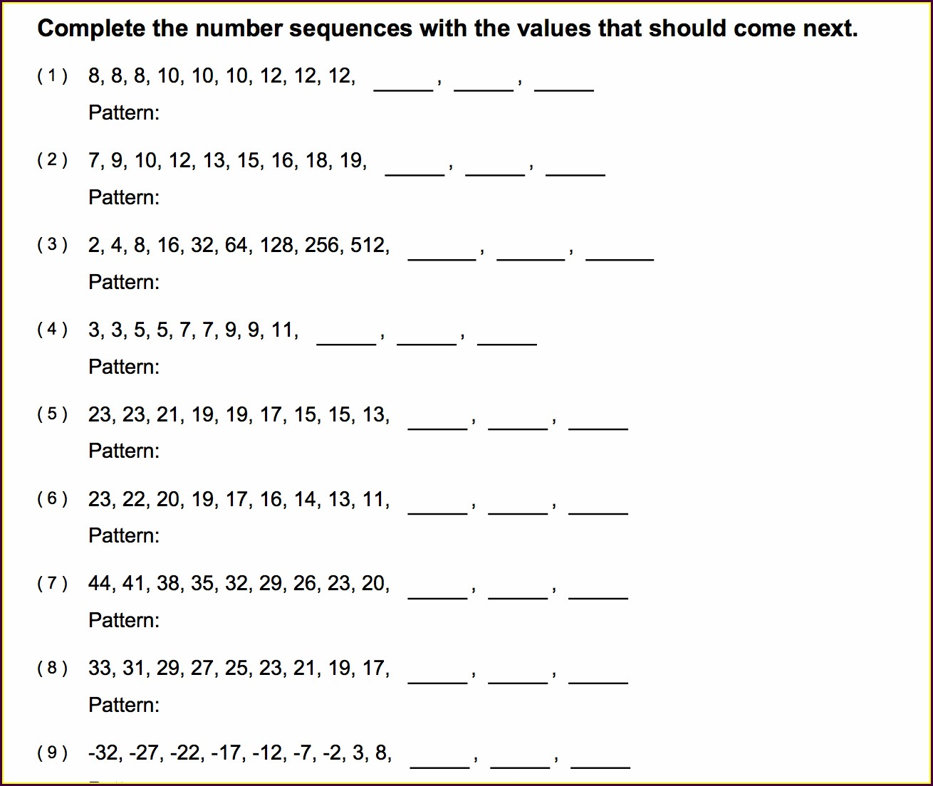Worksheet On Number Patterns For Grade 5