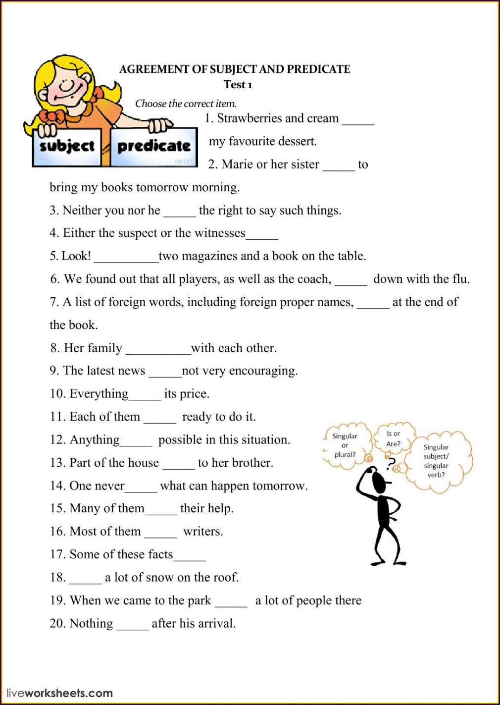 Worksheet On Subject Verb Agreement For Class 5