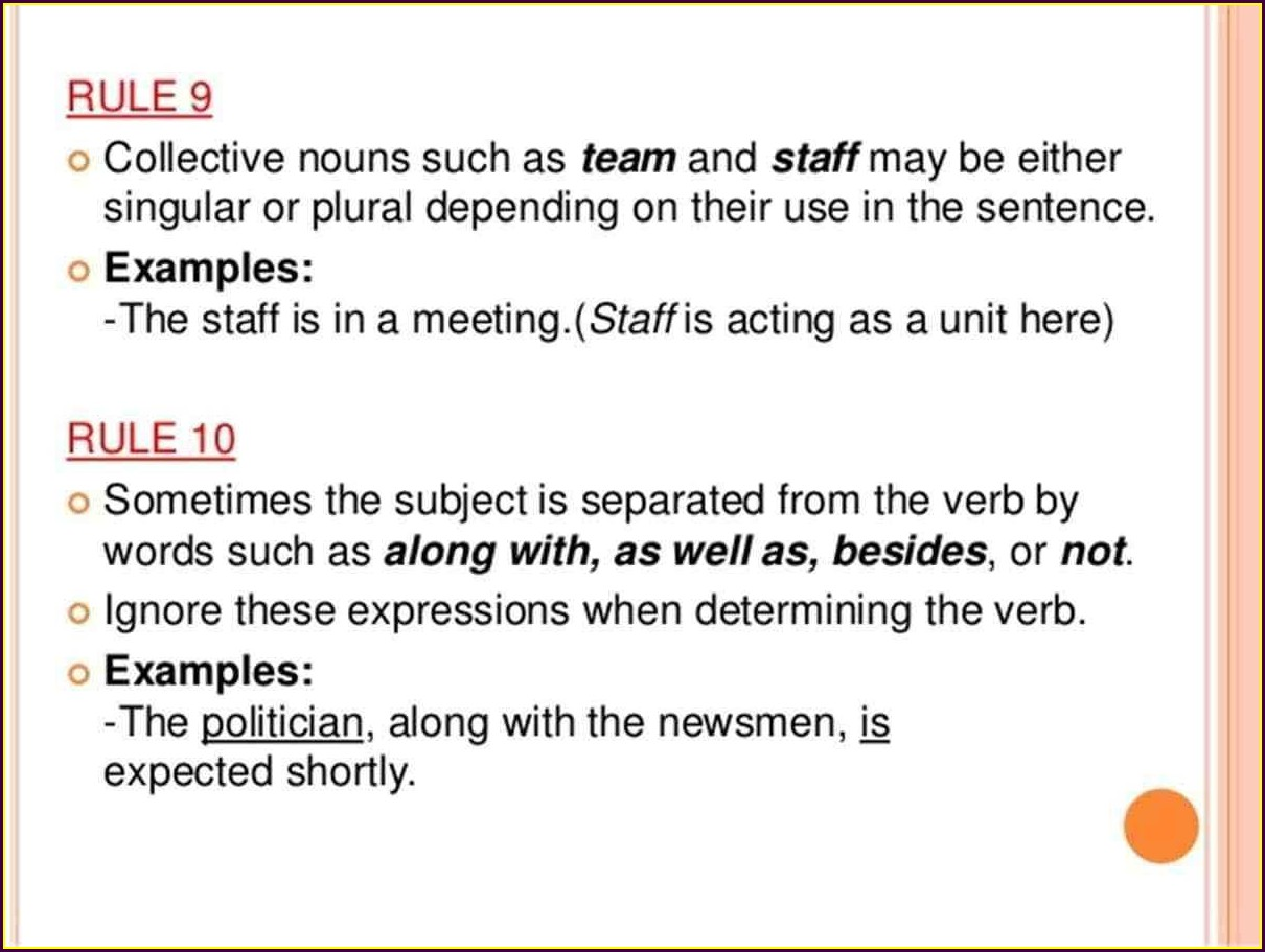 Worksheet On Subject Verb Agreement For Class 6