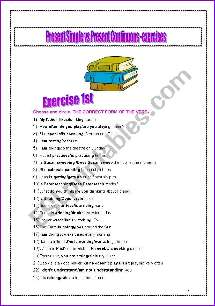 Worksheet Present Simple Vs Present Continuous Exercises