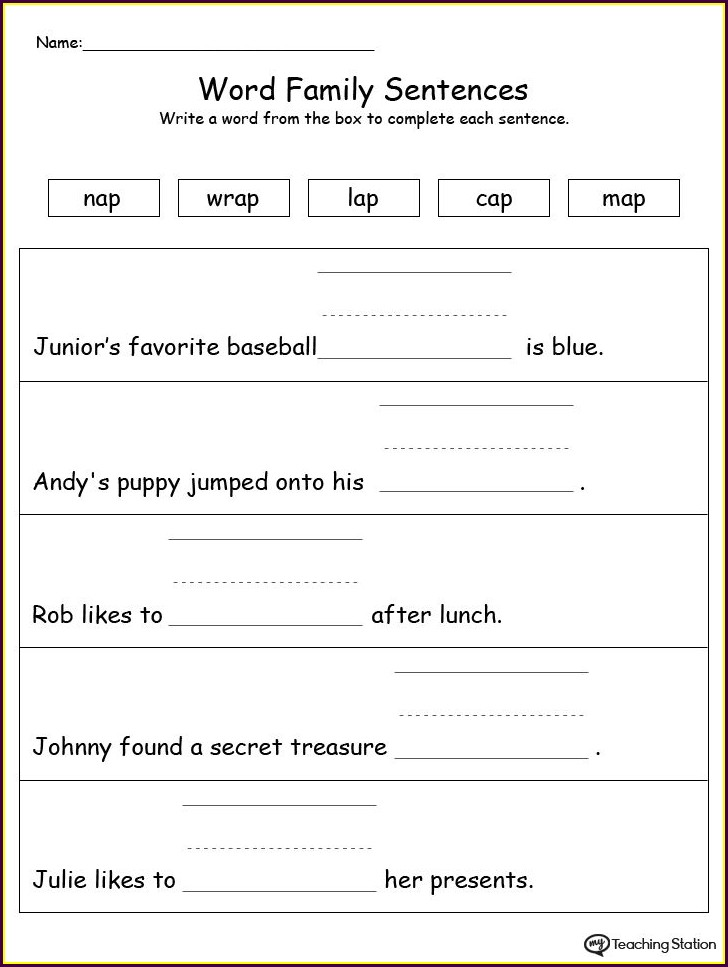 Worksheets For Ay Word Family