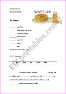 Writing A Recipe Worksheet Pdf