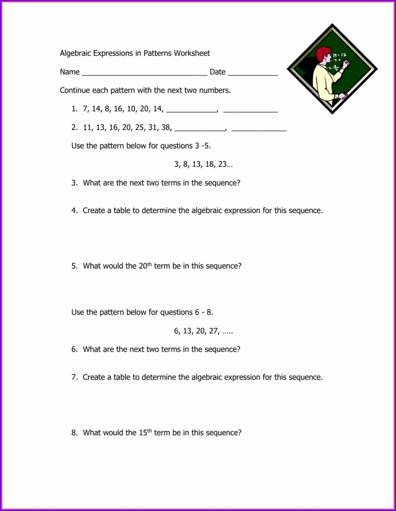 Writing Algebraic Sentences Worksheet
