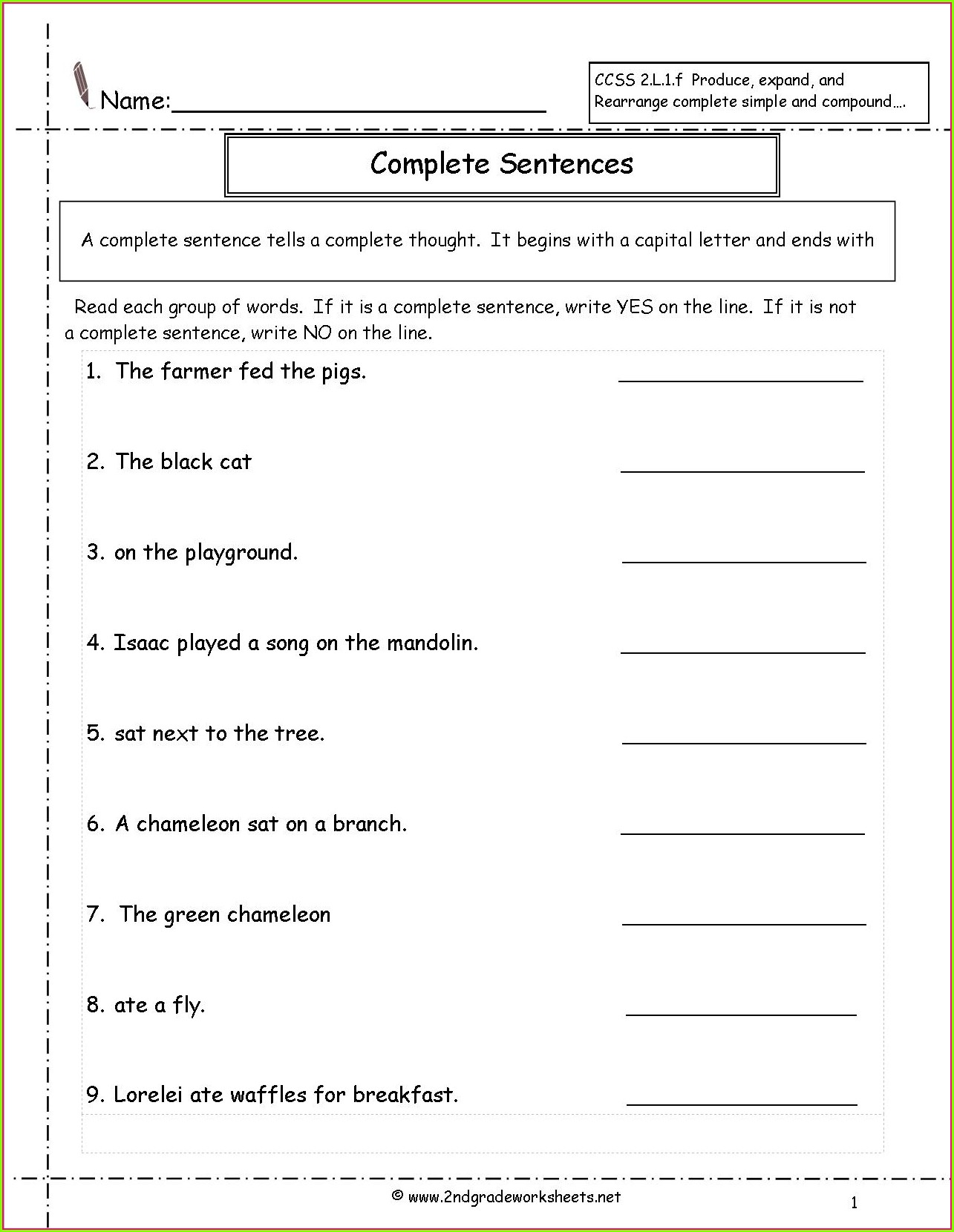 Writing Complete Sentences Worksheets For 2nd Grade