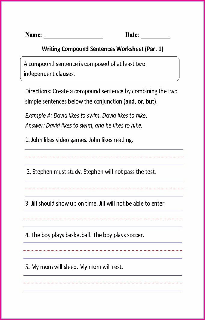 Writing Complex Sentences Worksheet Pdf