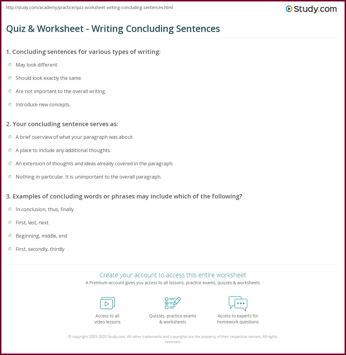 Writing Conclusion Sentences Worksheets