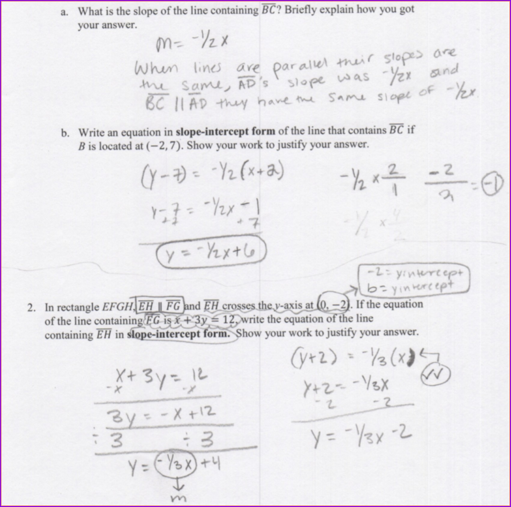 Writing Equations Of Lines Review Worksheet Answers