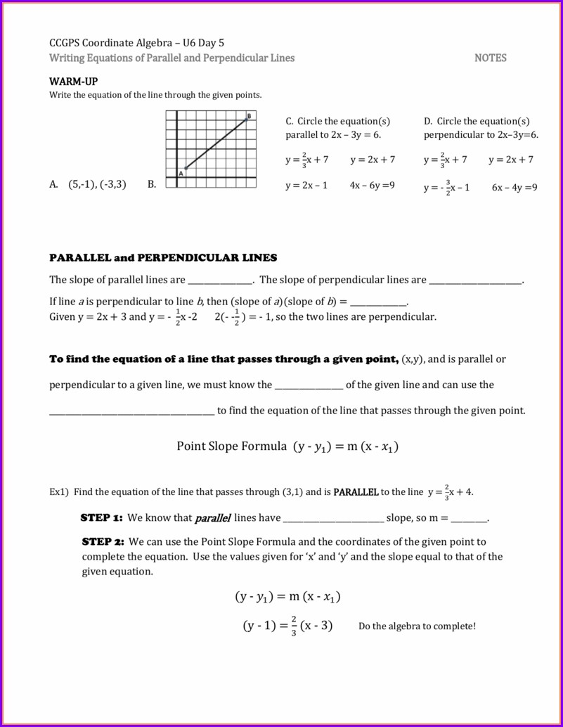 Writing Equations Of Lines Worksheet Answers