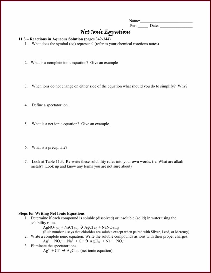 Writing Net Ionic Equations Worksheet