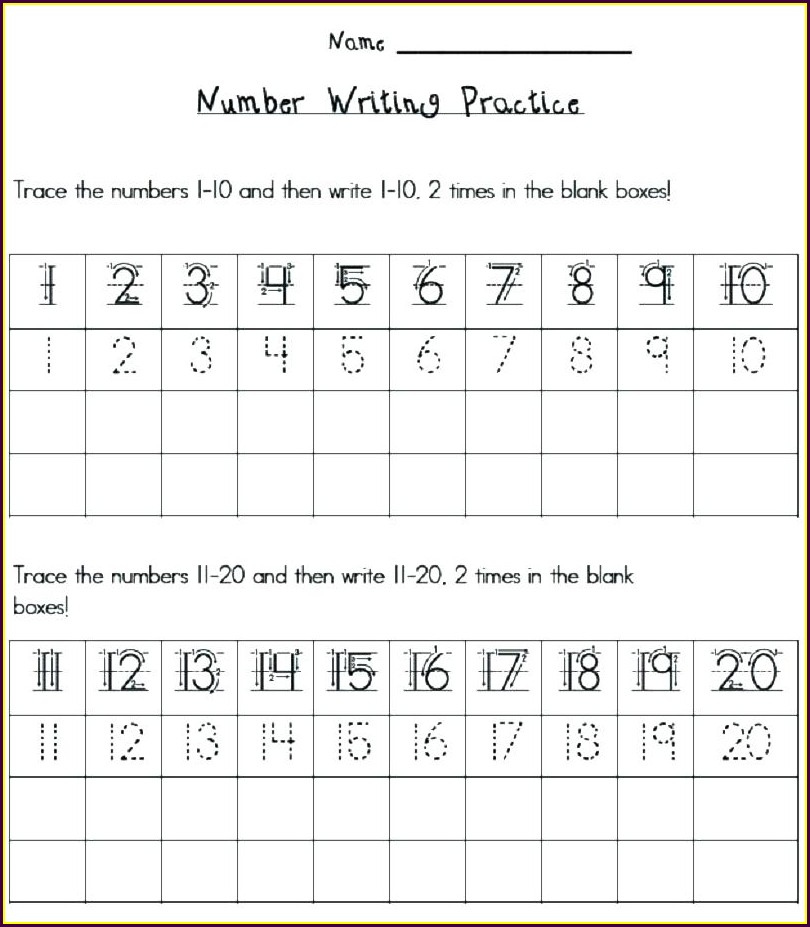 Writing Numbers 11 20 Worksheet