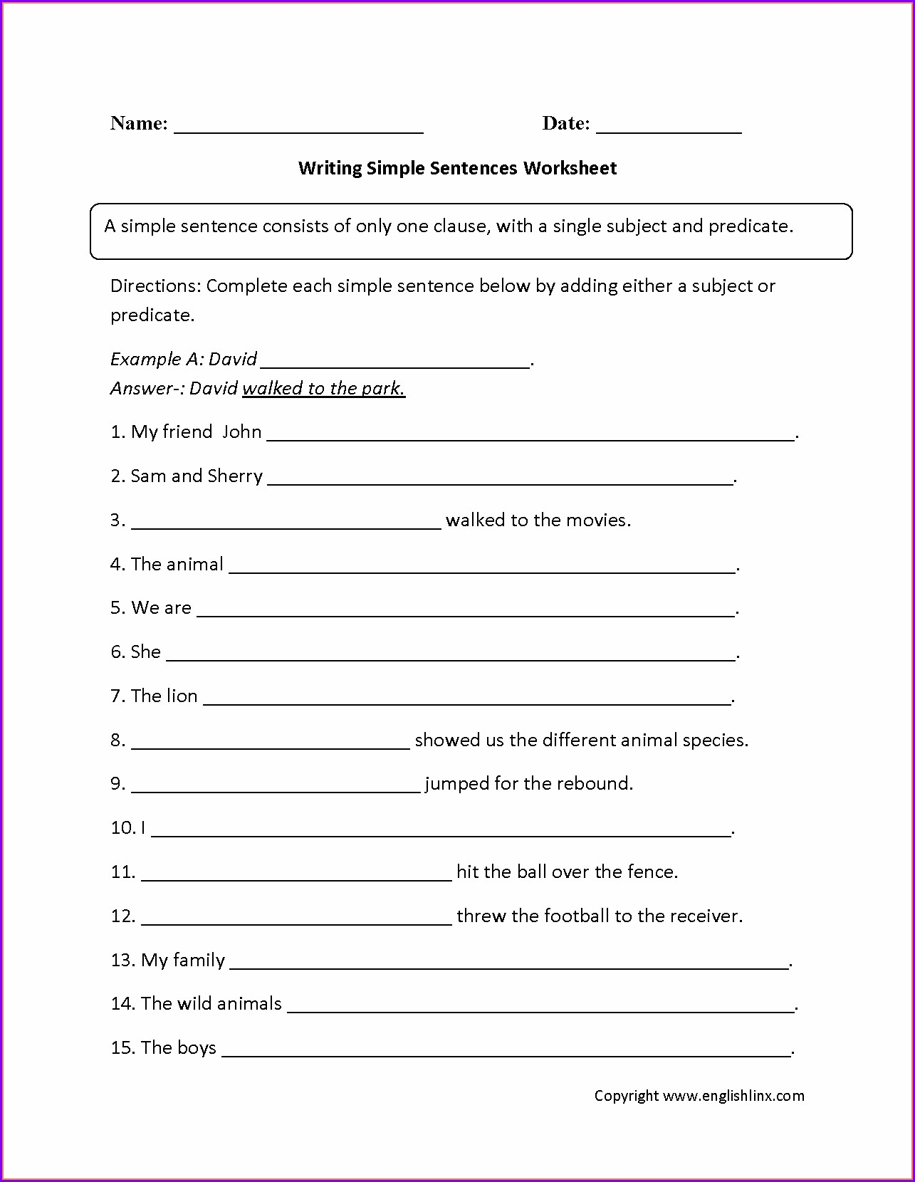 Writing Sentences Worksheet For Grade 1