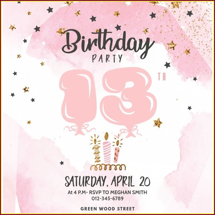 13th Girl Birthday Party Invitations