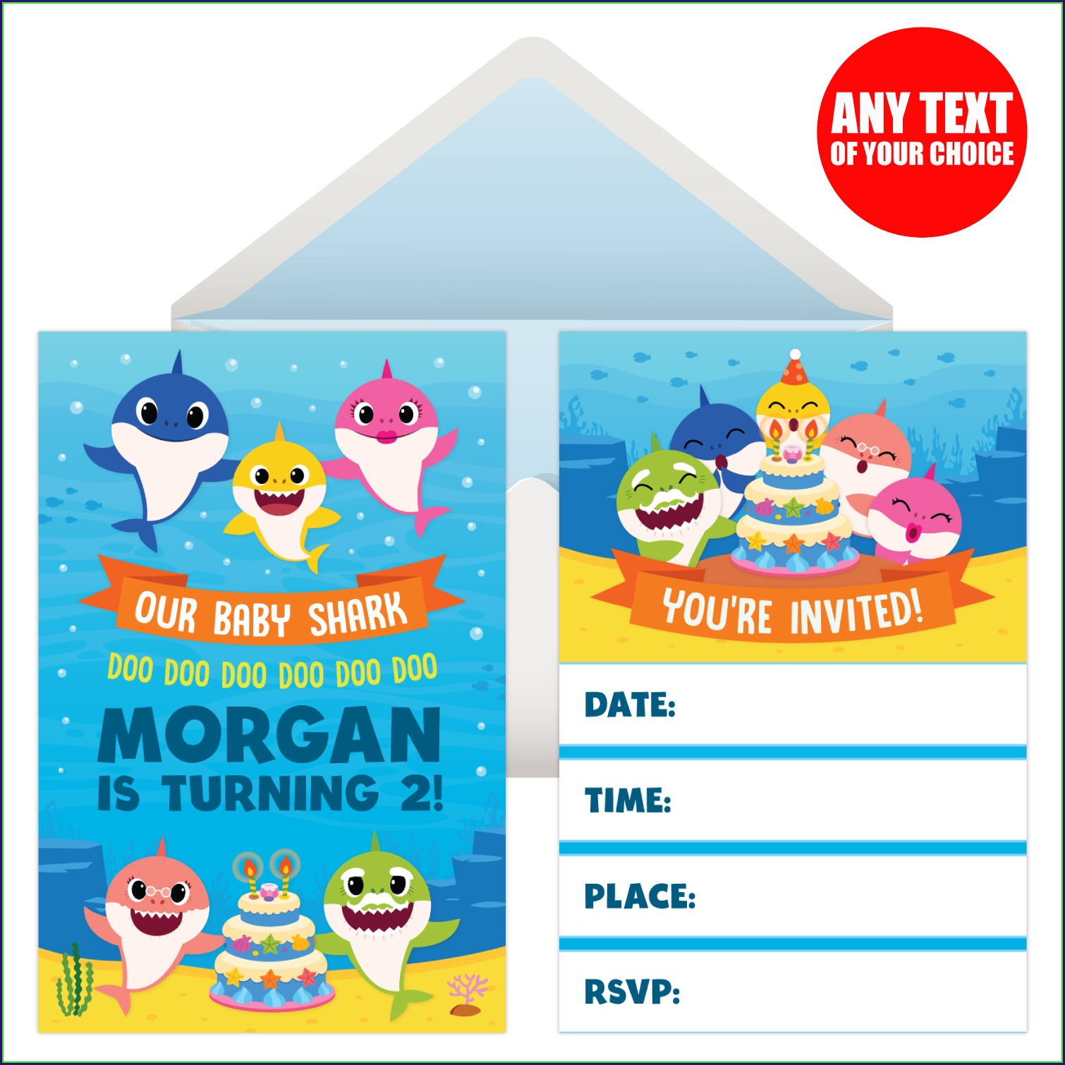 1st Birthday Baby Shark Invitation Card