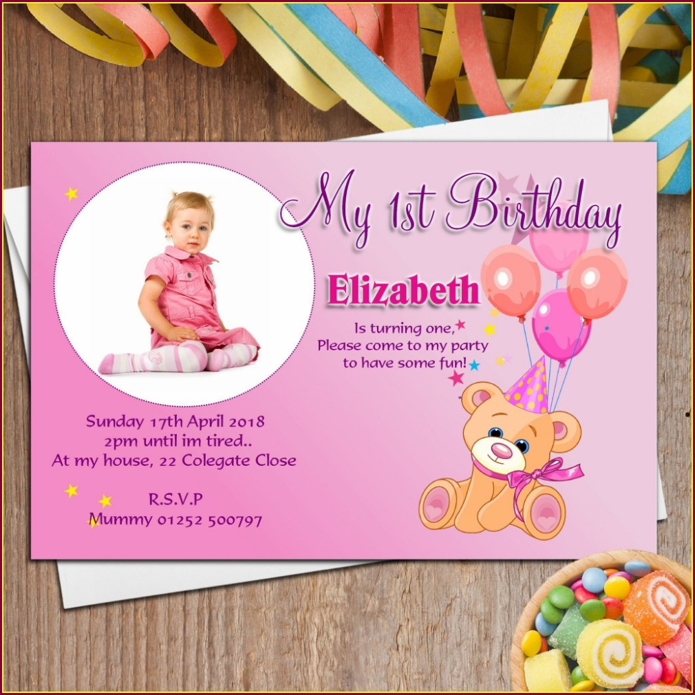 1st Birthday Create Birthday Invitation Card Online Free