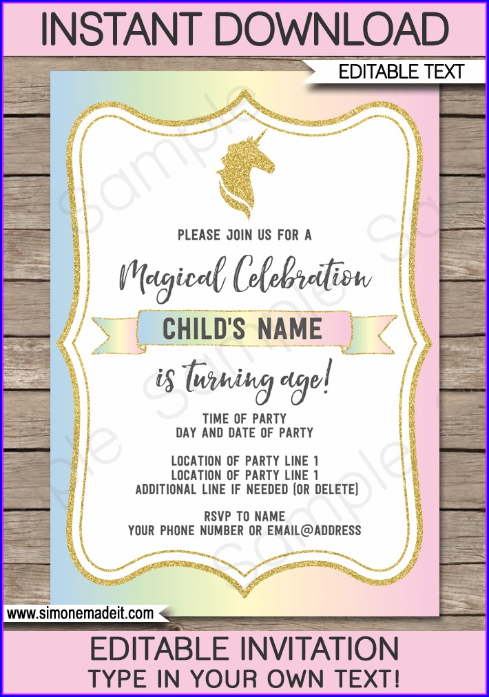 1st Birthday Editable Unicorn Birthday Invitations Templates Free