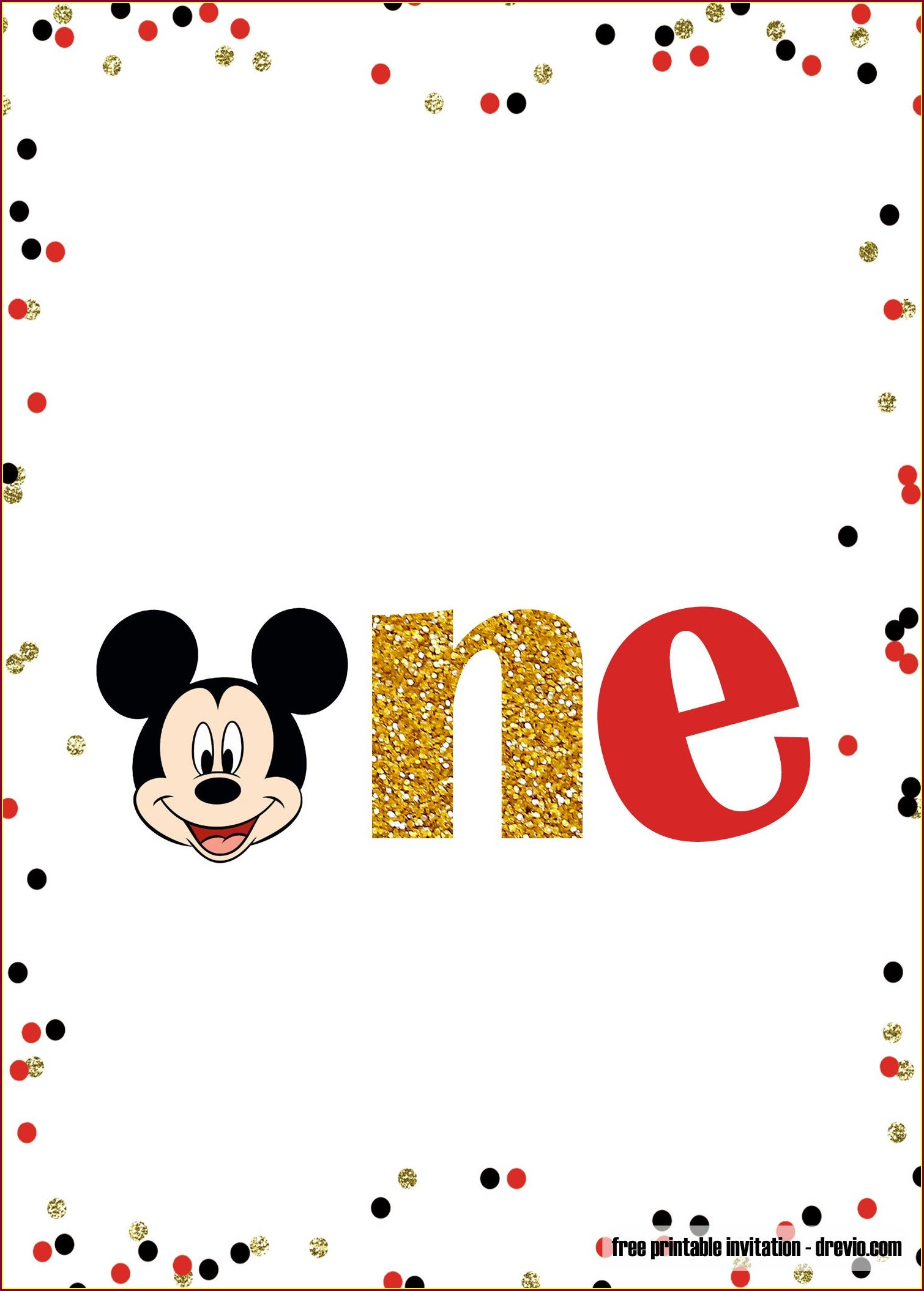 1st Birthday Free Editable Mickey Mouse Birthday Invitations
