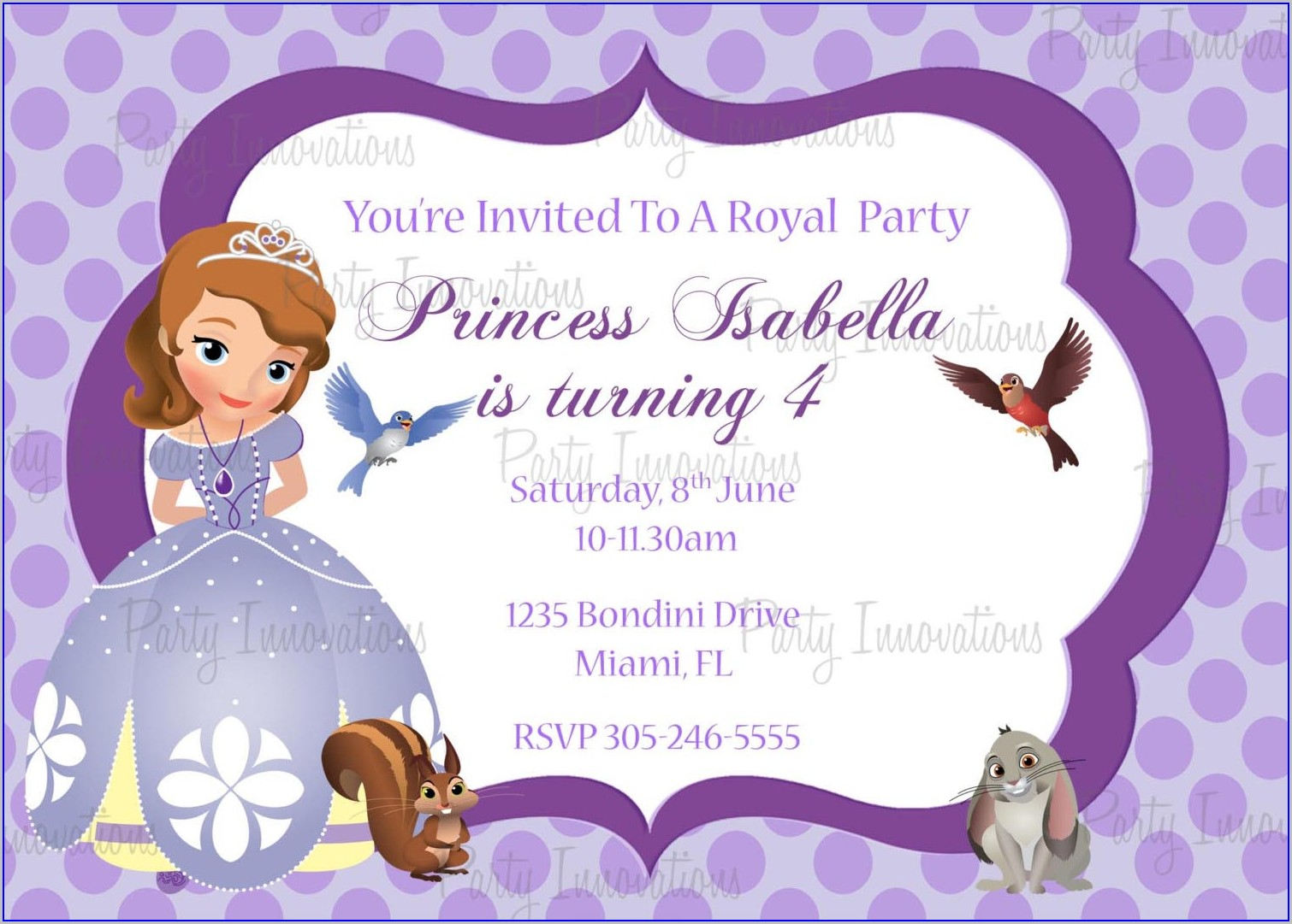 1st Birthday Invitation Card For Baby Girl Princess Theme