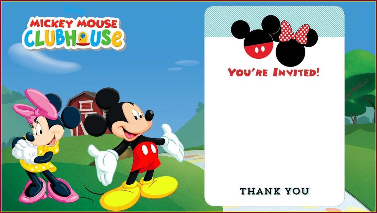 1st Birthday Invitation Downloadable Blank Mickey Mouse Invitation Template
