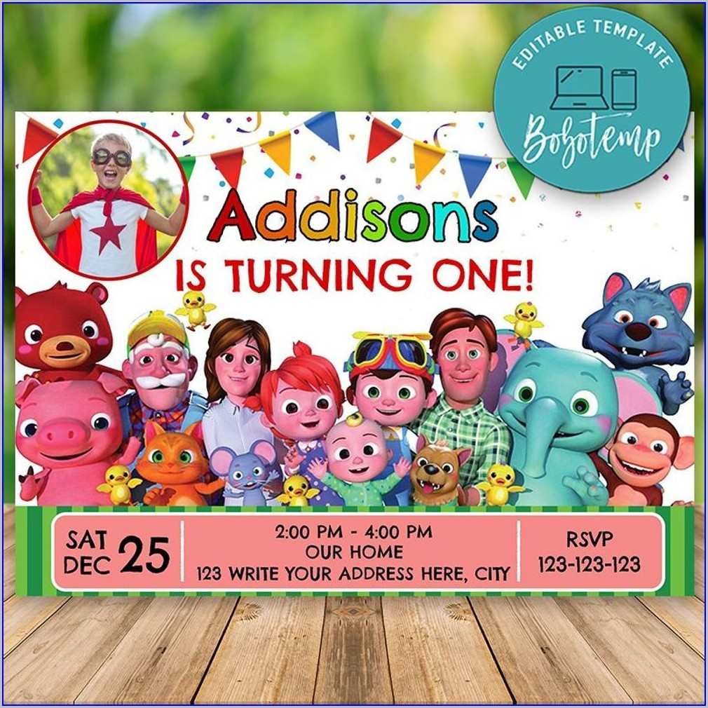 1st Birthday Invitation Template Cocomelon Tarpaulin Layout