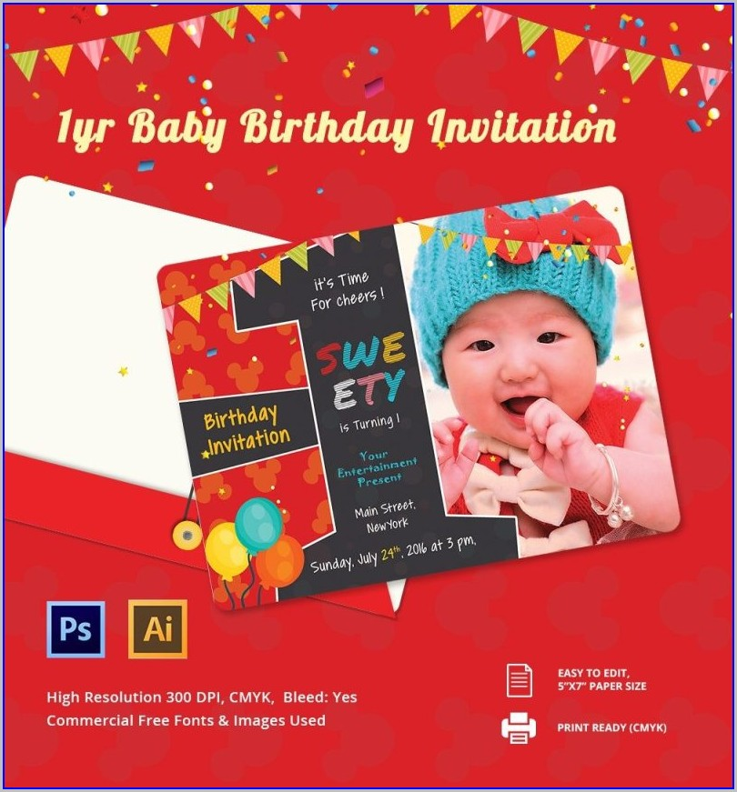 1st Birthday Invitation Template Psd Free
