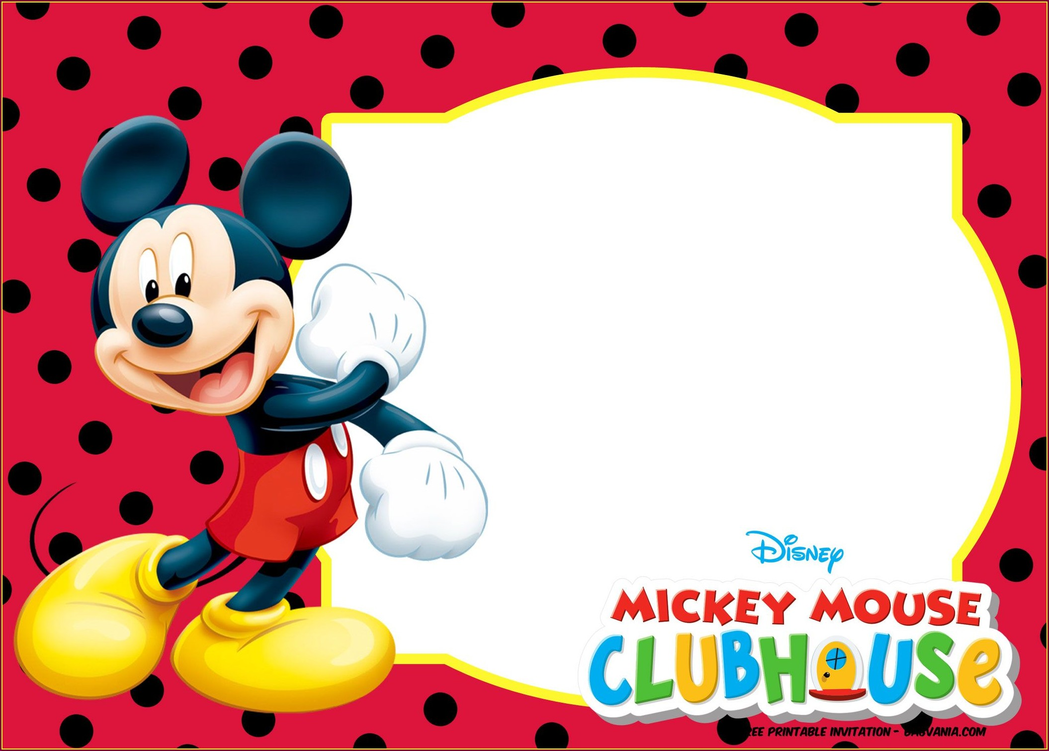 1st Birthday Invitations Blank Mickey Mouse Invitation Layout