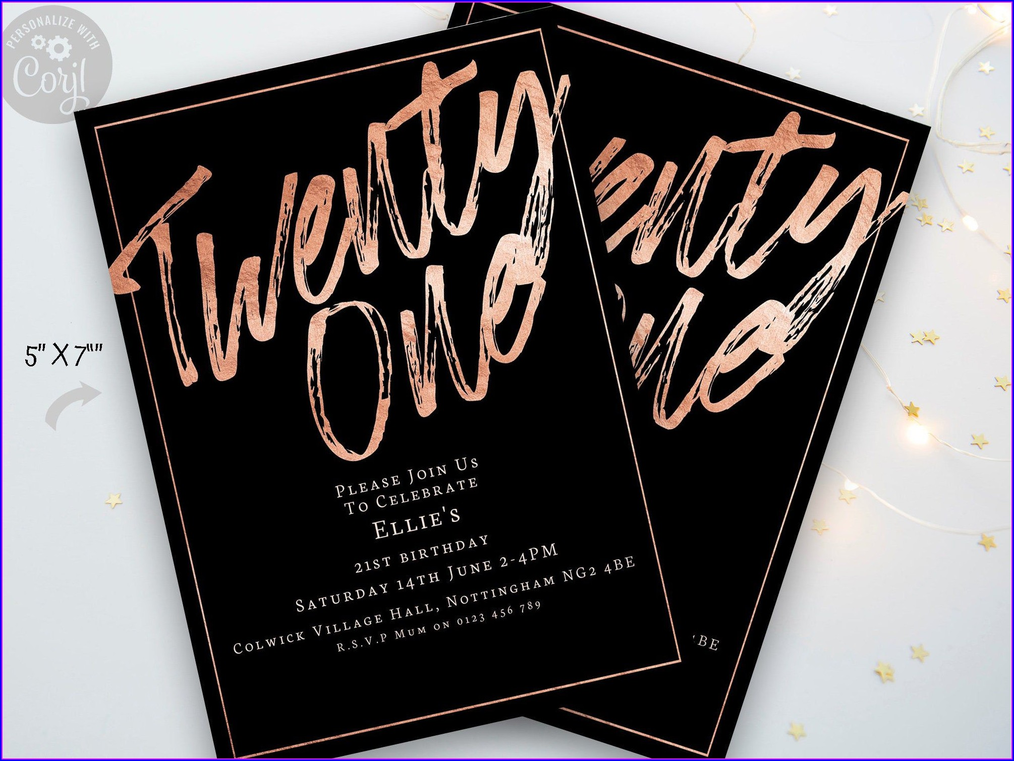 21st Birthday Invitations Rose Gold
