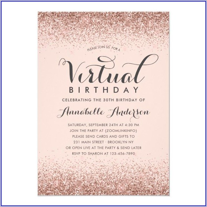 30th Birthday Invitations Rose Gold E Invites