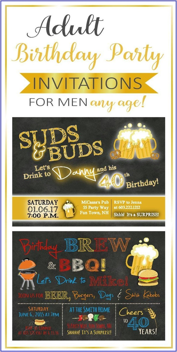 40th Surprise Birthday Invitations For Him