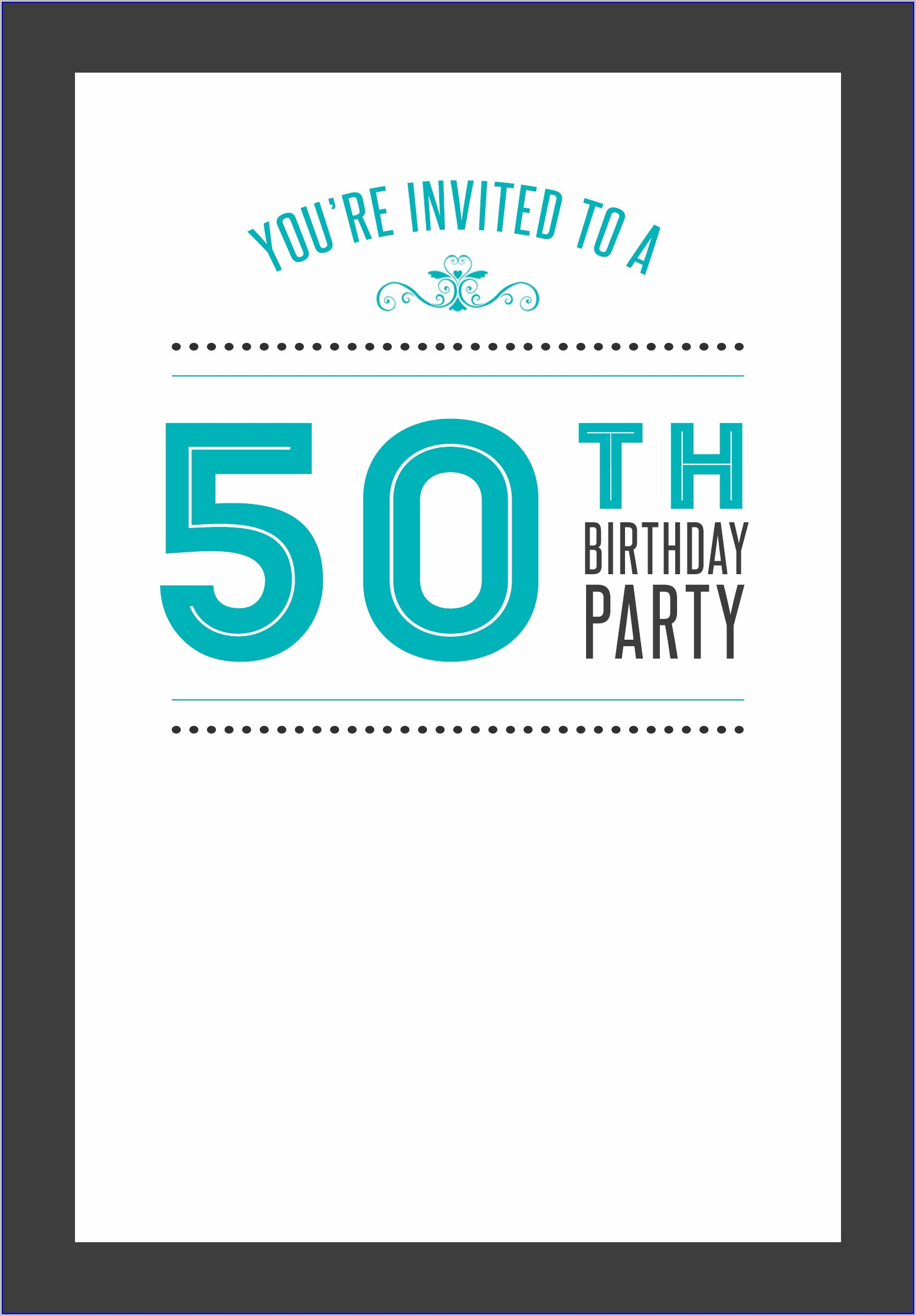 50th Birthday Free Birthday Invitation Templates For Adults