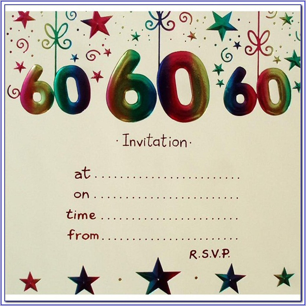 60th Birthday Free Birthday Invitation Templates For Adults